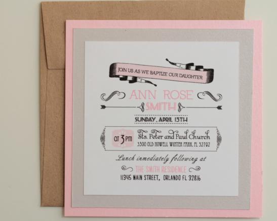 Baptisim Invitation for Girl 5 x 5 inches.